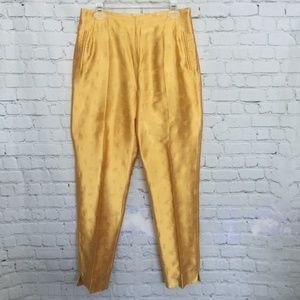 Yellow Gold Satin Evening Pants Slacks w/ Pattern